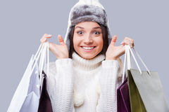 Shopping in any weather  . Royalty Free Stock Photos