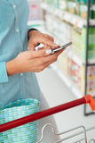 Shopping apps and grocery Stock Images