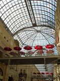 Shopping arcade. With skylight and cafe Royalty Free Stock Image