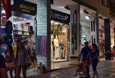 Shopping arcade along the street the night Stock Photos