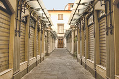 Shopping arcade early morning in Lucca, Tuscany Royalty Free Stock Photography