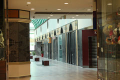Shopping arcade. Empty shopping arcade with variety of stores Stock Photos