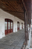 Shopping arcade Gostiny Dvor in the city center of Yuriev-Polsky. In the form of a long gallery with arches stock images