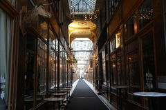 Shopping arcade in Paris, Passage du Grand Cerf. Paris, France-November 27, 2016:Shopping arcade in Paris, Passage du Grand Cerf, on Sunday afternoon Royalty Free Stock Photo