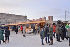 Shopping arcades at the carnival in the Moscow area Stock Image