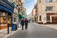 Shopping area on Harbour St, Ramsgate. Ramsgate, UK - Jan 22 2018.  Local people shopping on Harbour St in Ramsgate, a town with many Regency and Victorian Stock Images