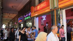 Shopping area in Tunis. TUNISIA, TUNIS, JUNE 30, 2010: People in shopping area in Tunis, Tunisia, June 30, 2010 stock video footage
