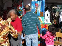 Shopping for Artwork at the Festival Stock Photo