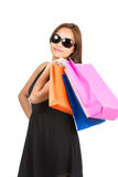 Shopping Asian Woman Colorful Bags At Camera V Royalty Free Stock Photography