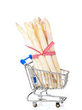 Shopping asparagus. Shopping, asparagus in a small basket Royalty Free Stock Images