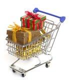 Shopping At Christmas Stock Photos