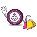 Shopping Augur coin character cartoon. Vector illustration Stock Photos