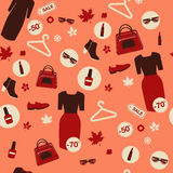 Shopping Autumn Sale Seamless Pattern. Accessories, Clothing and Fashion Elements Royalty Free Stock Images