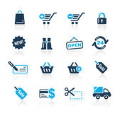 Shopping // Azure Series. Set of decorative blue icons isolated on white background for your e-commerce projects. Vector file in EPS 8 file format