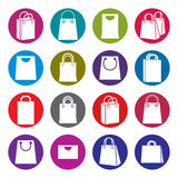 Shopping back icons isolated on white background vector set, sho. Pping theme simplistic symbols vector collections stock illustration