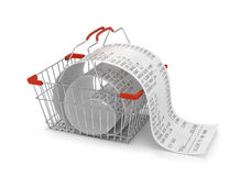 Shopping backet with store paper receipt ,. 3d illustration. shopping concept Royalty Free Stock Photography