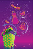 Shopping background. With giftbox and shiny ribbon vector illustration