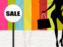 Shopping Background. Colorful Shopping Background with sale board Royalty Free Stock Photography