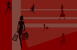 Shopping background. Vector image of girls for shopping cards and posters background Stock Images