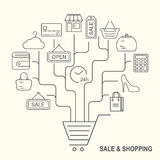 Shopping background with black line style icons Stock Images