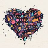 Shopping background with colorful blots,inks Royalty Free Stock Image