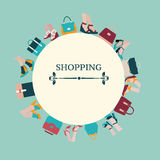 Shopping Background of Women bags and shoes - Illustration Stock Image