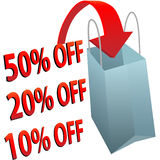 Shopping bag 10 20 50 per cent off SALE. A red arrow points into a shopping bag to illustrate a big sale of 10 20 or 50 per cent off royalty free illustration