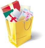 Shopping bag. With box gifts vector illustration