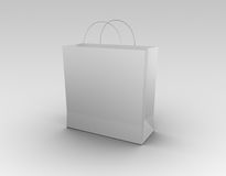 Shopping bag. White shopping bag. High quality 3D rendered image Royalty Free Stock Photo