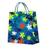 Shopping bag. With floral design, isolated object on white Stock Images