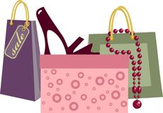 Shopping bag. With lilac shoe Stock Image