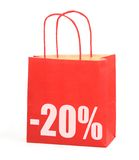 Shopping bag with -20% sign. On white background, photo does not infringe any copyright royalty free stock image