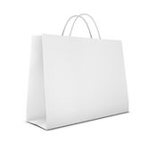 Shopping bag. One classic white shopping bag (3d render Royalty Free Stock Images
