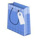 Shopping Bag. An illustration of a blue designer shopping bag with pattern and price tag / label vector illustration