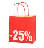 Shopping bag with -25% sign on white Stock Images