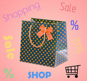 Shopping Bag. With bow isolated Royalty Free Stock Image