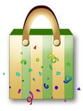 Shopping bag. A green and yellow striped shopping bag Stock Image