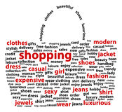 Shopping Bag. Shopping Words - Shape Of Shopping Bag Royalty Free Stock Photography