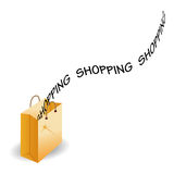 Shopping bag. Shopping text fly over the opened shopping bag Royalty Free Stock Photo