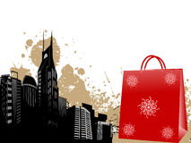Shopping bag. A shopping bag near buildings royalty free illustration