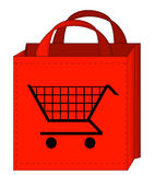 Shopping bag. Red shopping bag with a shopping cart on it royalty free illustration