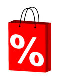 Shopping bag. Red shopping bag with percent on it Stock Images