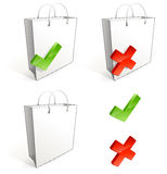 Shopping bag. With cross and V chape stock illustration