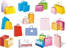 Shopping bag. An illustration of shopping bags with different patterns Stock Photos