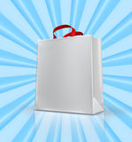 Shopping Bag. An illustration of a shopping bag on an abstract pattern of blue beams stock illustration