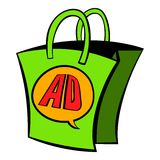 Shopping bag with AD letters icon cartoon Stock Photos