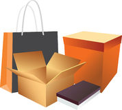 Shopping Bag And Boxes Royalty Free Stock Images