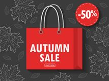 Shopping bag with autumn sale. Illustration of Shopping bag with autumn sale Stock Images