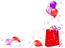 Shopping bag and balloons Stock Photos
