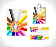 Shopping bag and banners Royalty Free Stock Image